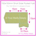 150mm Square Short Side Pocket Fold - Cottonesse Country Green 250gsm