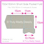 150mm Square Short Side Pocket Fold - Cottonesse Warm Grey 250gsm
