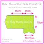 150mm Square Short Side Pocket Fold - Crystal Perle Metallic Apple Green