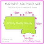 150mm Square Side Pocket Fold - Crystal Perle Metallic Apple Green