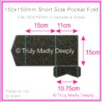 150mm Square Short Side Pocket Fold - Crystal Perle Metallic Glittering Black
