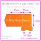 150mm Square Short Side Pocket Fold - Crystal Perle Metallic Orange