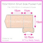 150mm Square Short Side Pocket Fold - Crystal Perle Metallic Pastel Pink