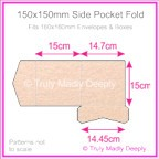 150mm Square Side Pocket Fold - Crystal Perle Metallic Pastel Pink