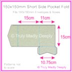 150mm Square Short Side Pocket Fold - Crystal Perle Metallic Steele