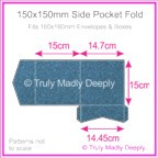 150mm Square Side Pocket Fold - Curious Metallics Blue Print