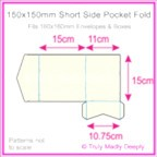 150mm Square Short Side Pocket Fold - Metallic Pearl Bridal White