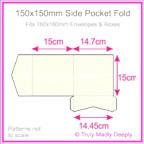 150mm Square Side Pocket Fold - Metallic Pearl Bridal White