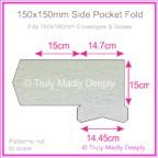 150mm Square Side Pocket Fold - Metallic Pearl Silver