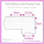 150mm Square Side Pocket Fold - Metallic Pearl White