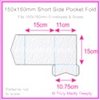150mm Square Short Side Pocket Fold - Mohawk Via Felt Bright White