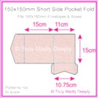 150mm Square Short Side Pocket Fold - Rives Ice Pink