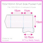 150mm Square Short Side Pocket Fold - Semi Gloss White 235gsm