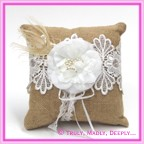 Wedding Ring Cushion - Hessian, Lace & Flower