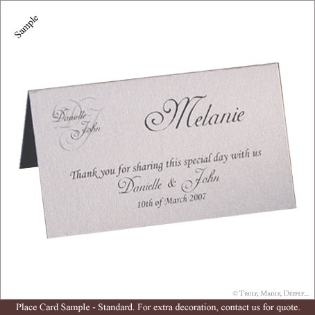 Example of a standard Place Card available to include in your wedding invitation package.